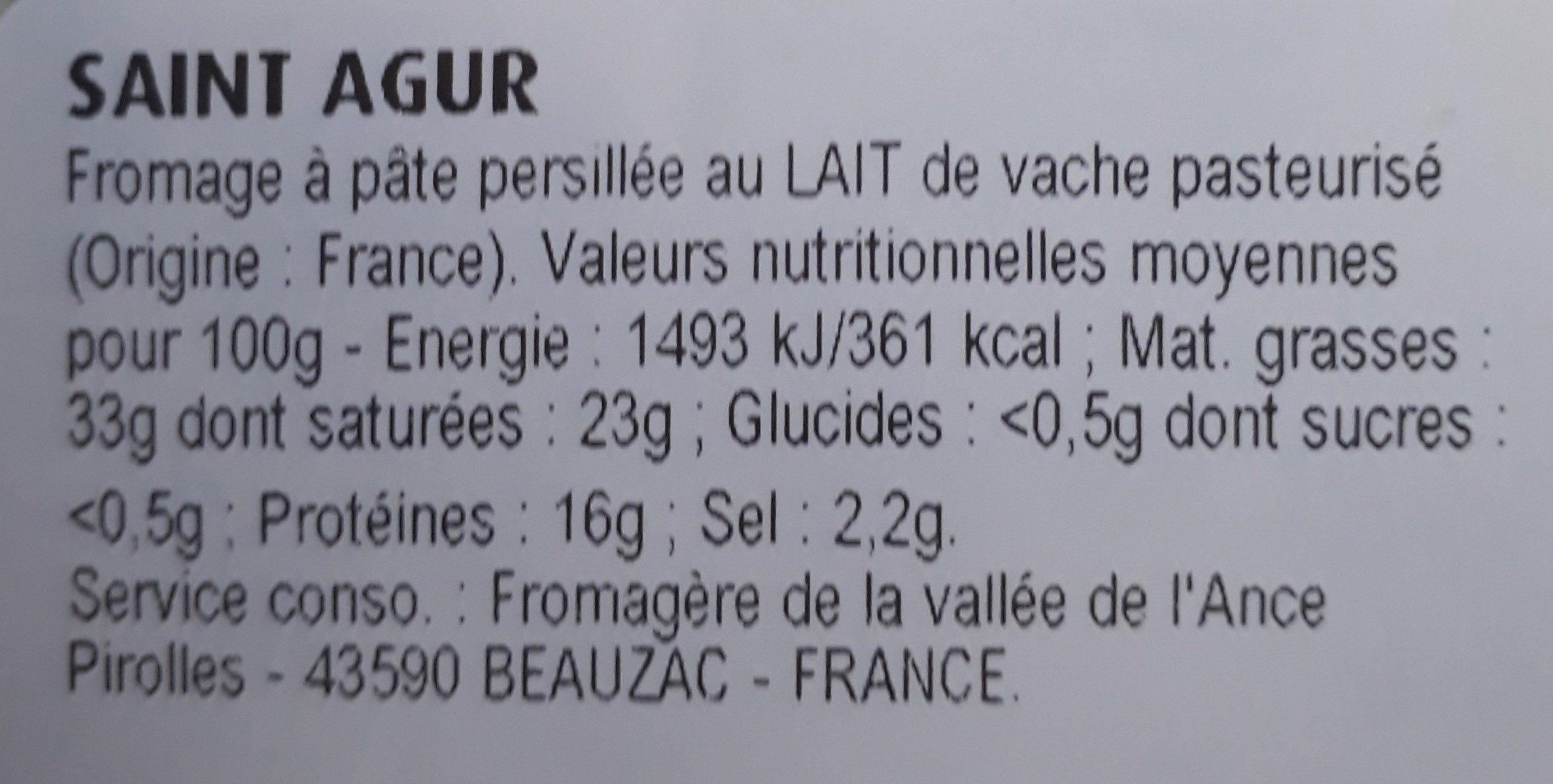 Saint Agur Intense - Ingrédients - fr
