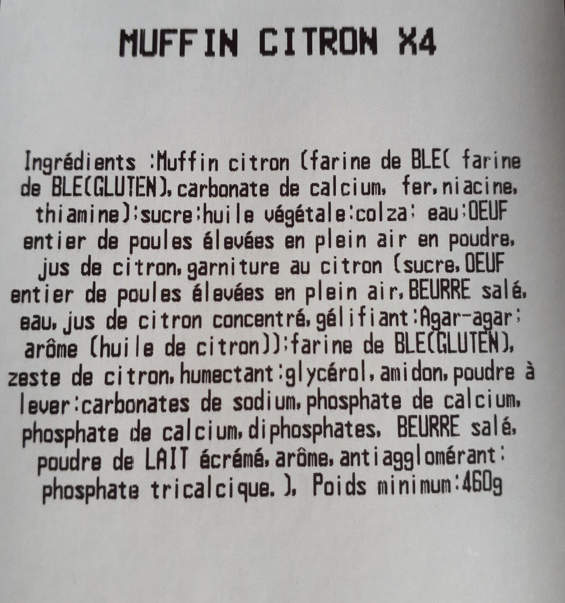 Muffin Citron - Ingrédients
