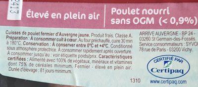 Cuisse de poulet fermier d'Auvergne - Ingredients