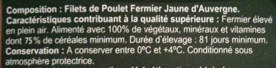 Filets de poulet fermier jaune - Ingrédients