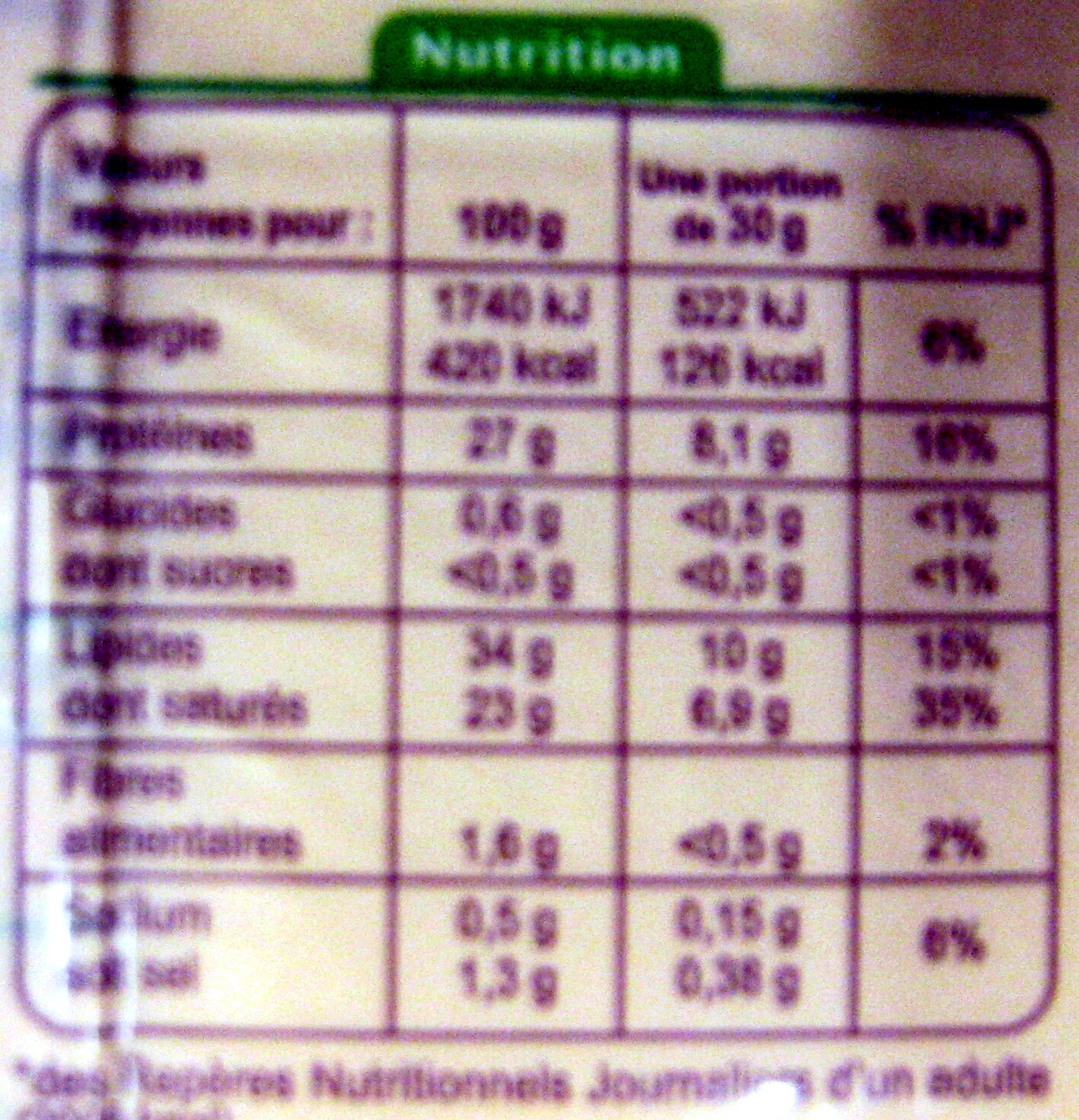 Comté AOP Bio (34 % MG) - Informations nutritionnelles - fr