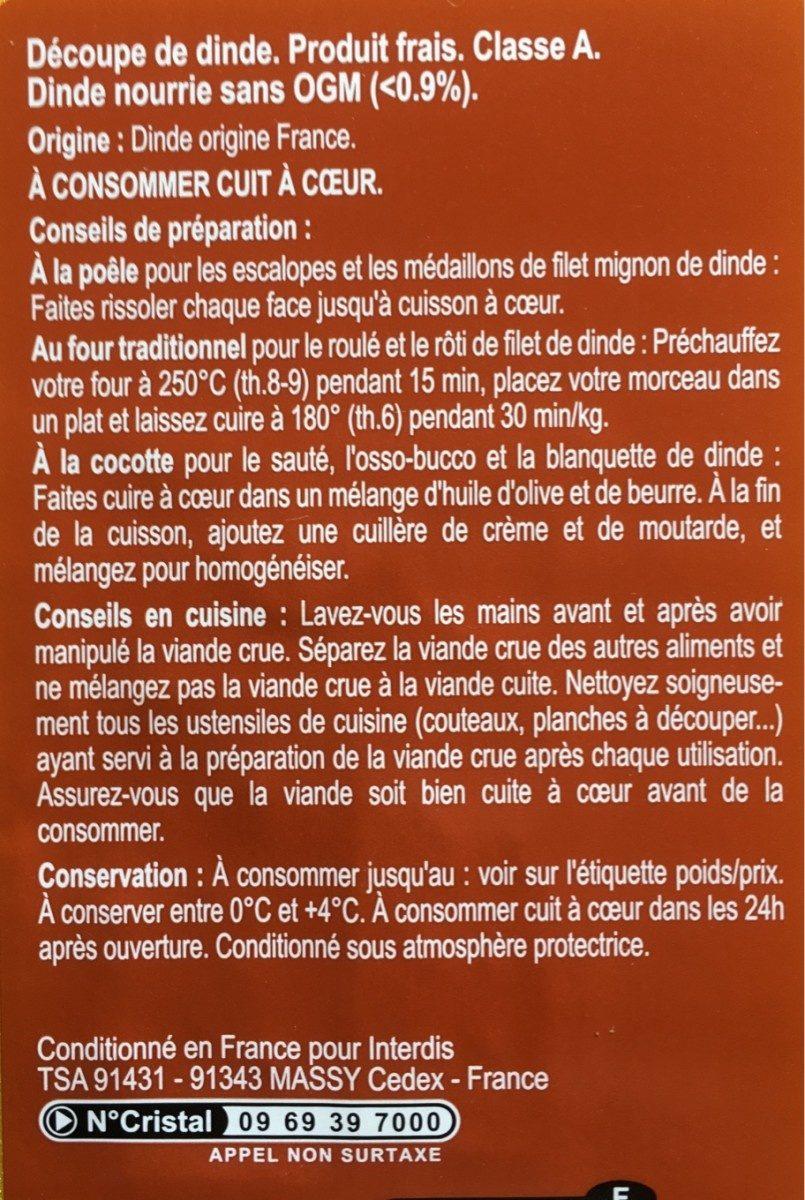 Escalopes de dindes - Ingrédients - fr