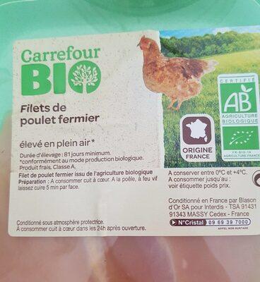 Filets de poulet fermier bio - Ingredients