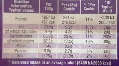 Cookies with chocolate chunks - Nutrition facts