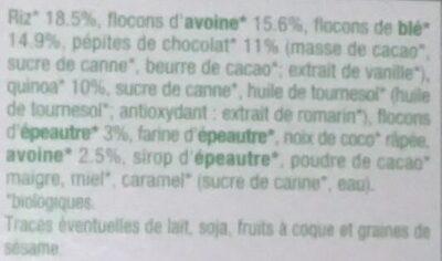 Muesli croustillant quinoa chocolat - Ingrediënten