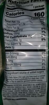sour cream and onionlays potatoe chips - Ingredients - en