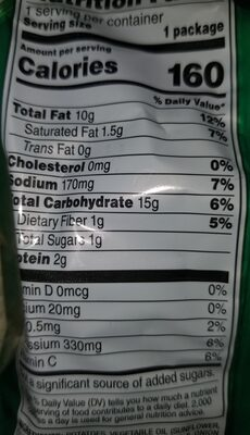 sour cream and onionlays potatoe chips - Nutrition facts - en