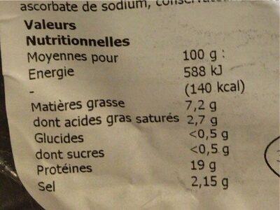 Palette demi sel - Nutrition facts - fr