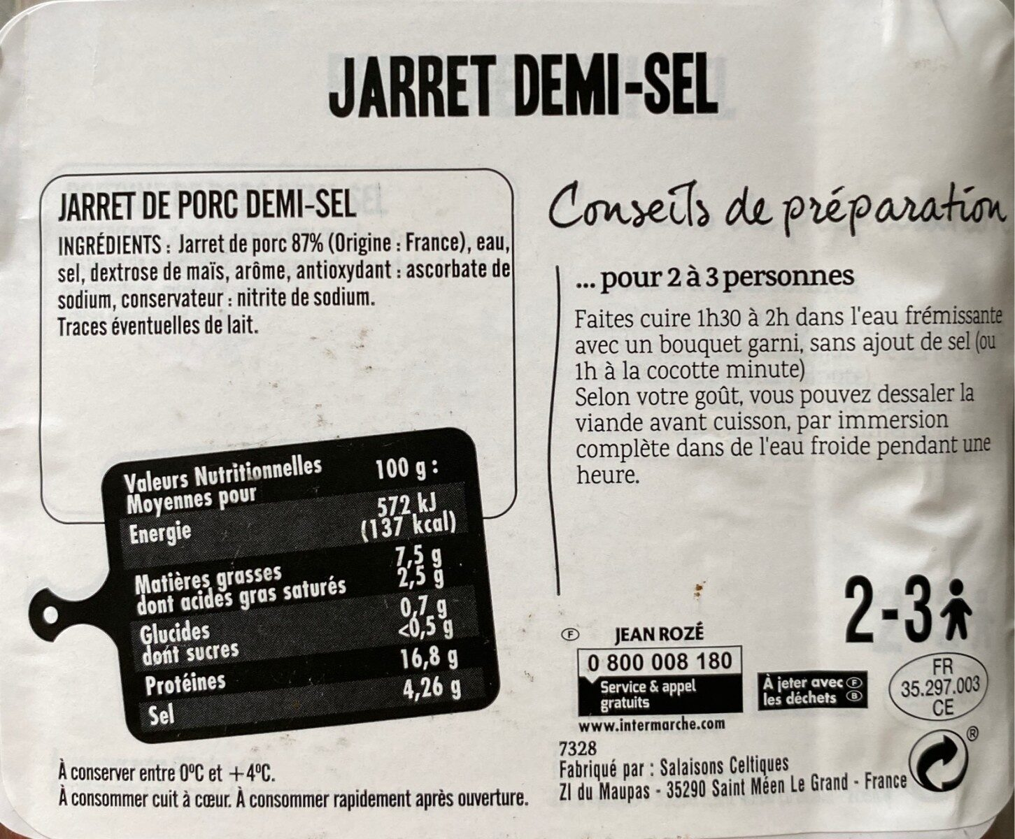 Jarret demi-sel - Nutrition facts - fr