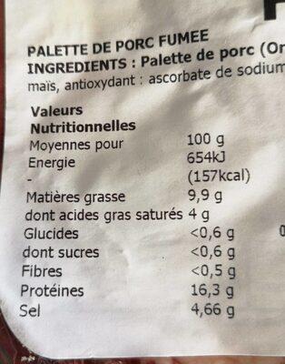 Palette de porc fumée - Nutrition facts - fr