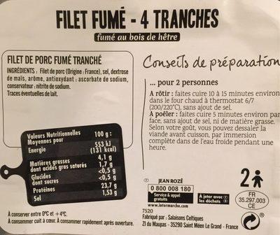 Filet fumé - Nutrition facts - fr
