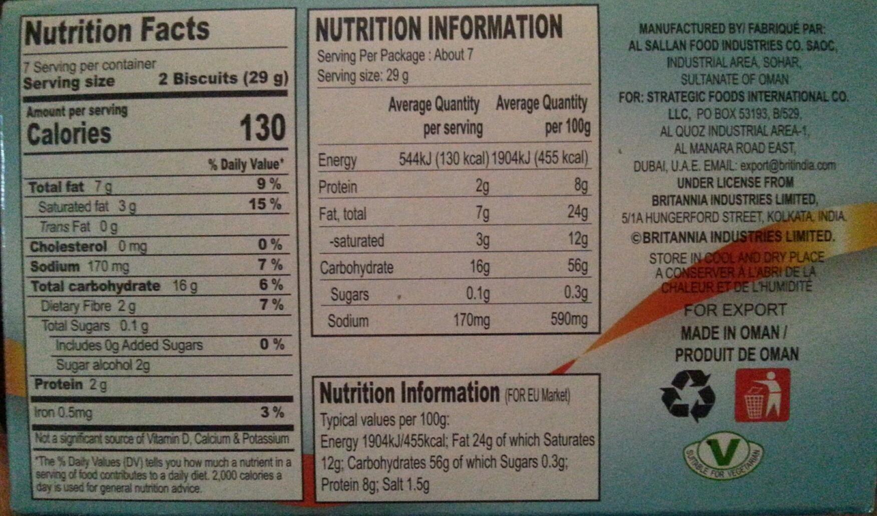 Britannia Sugar Free Digestive Biscuit - Nutrition facts - en