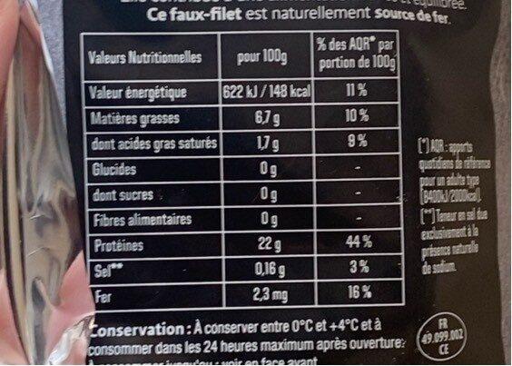 Faux filet - Nutrition facts - fr