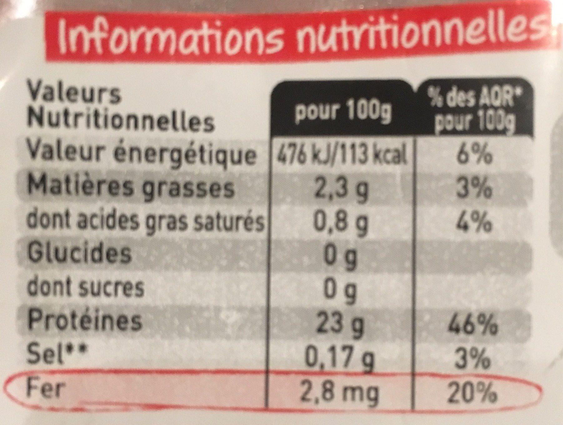 Viande bovine a griller - Informations nutritionnelles