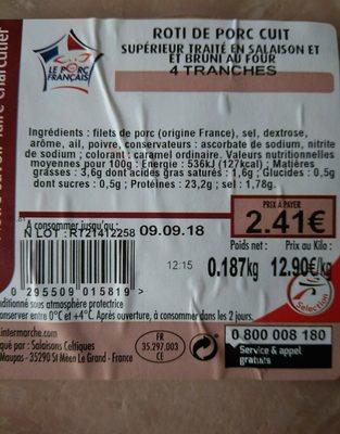 Roti de porc cuit - Ingredients - fr