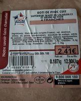 Roti de porc cuit - Nutrition facts - fr