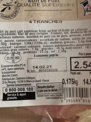 Roti de porc - Nutrition facts - fr
