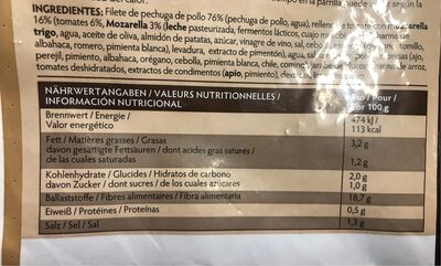 Pechugas de pollo tomate mozarella - Nutrition facts