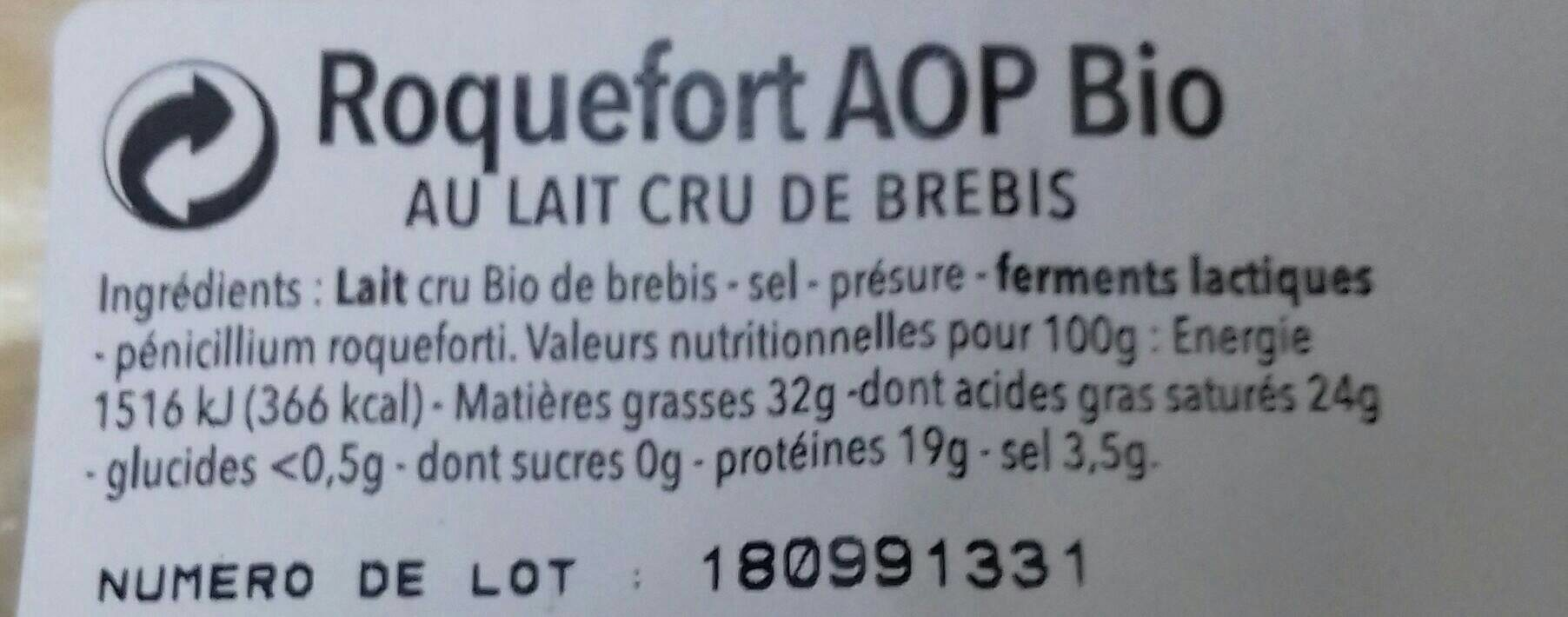 Roquefort AOP Bio - Ingrédients - fr