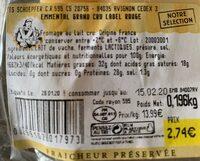 Emmental Français est-central - Informations nutritionnelles - fr