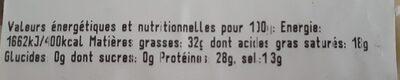 Gruyère Grand cru - Voedingswaarden - fr