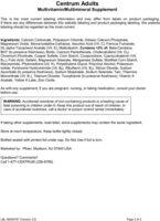 Adult Multivitamin/multimineral Supplement - Ingredients - en
