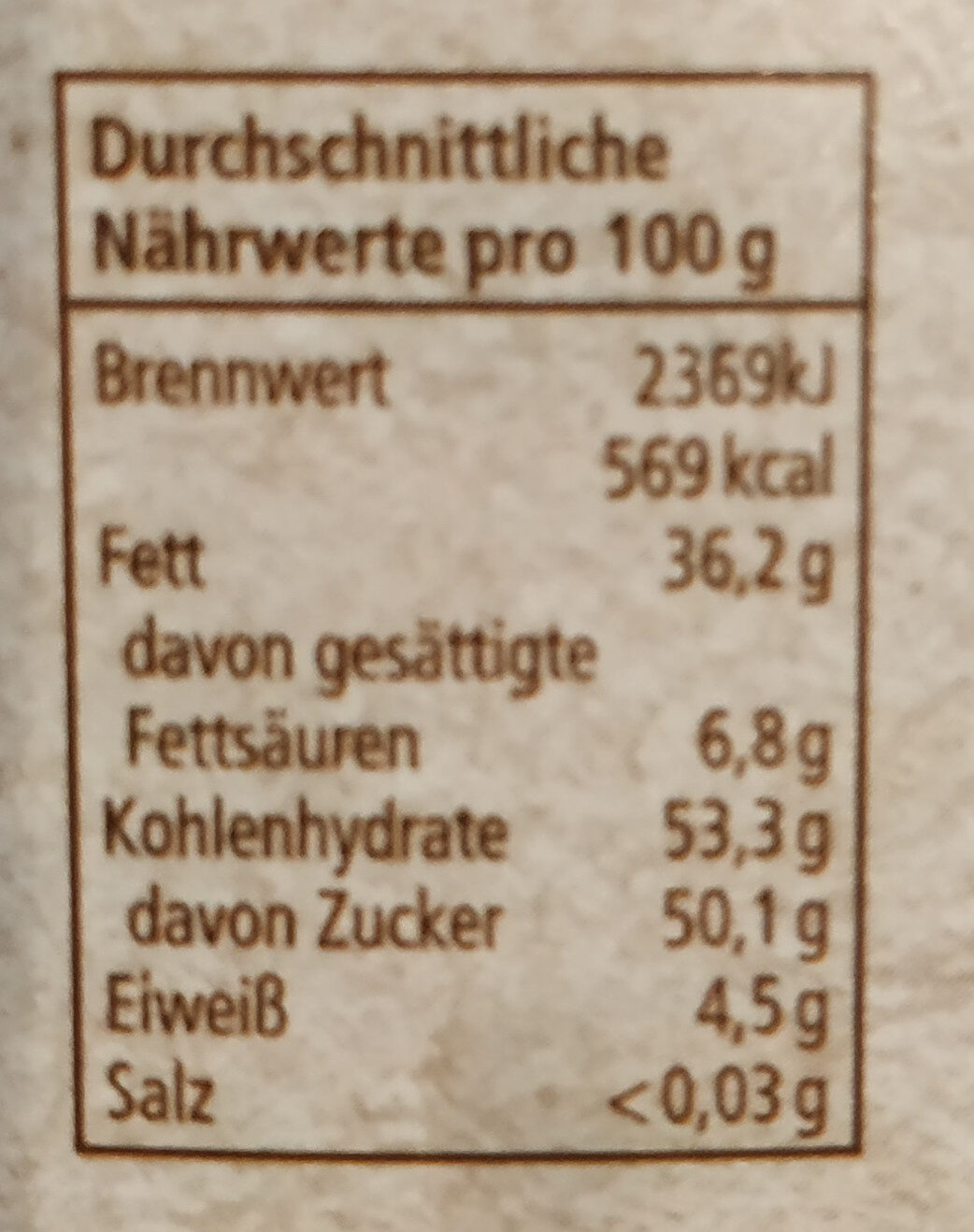 Nuss-Nougat Creme - Informations nutritionnelles