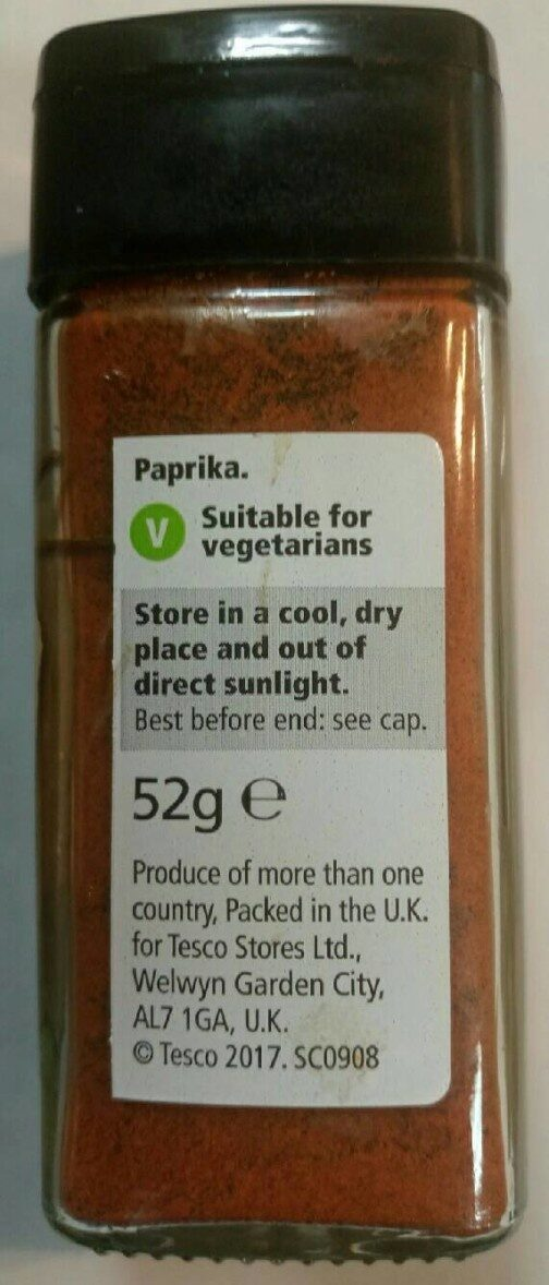 Páprika - Nutrition facts