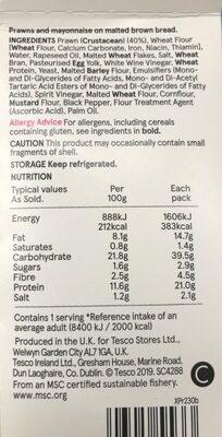 Tesco Prawn Mayonnaise Sandwich - Informations nutritionnelles - en