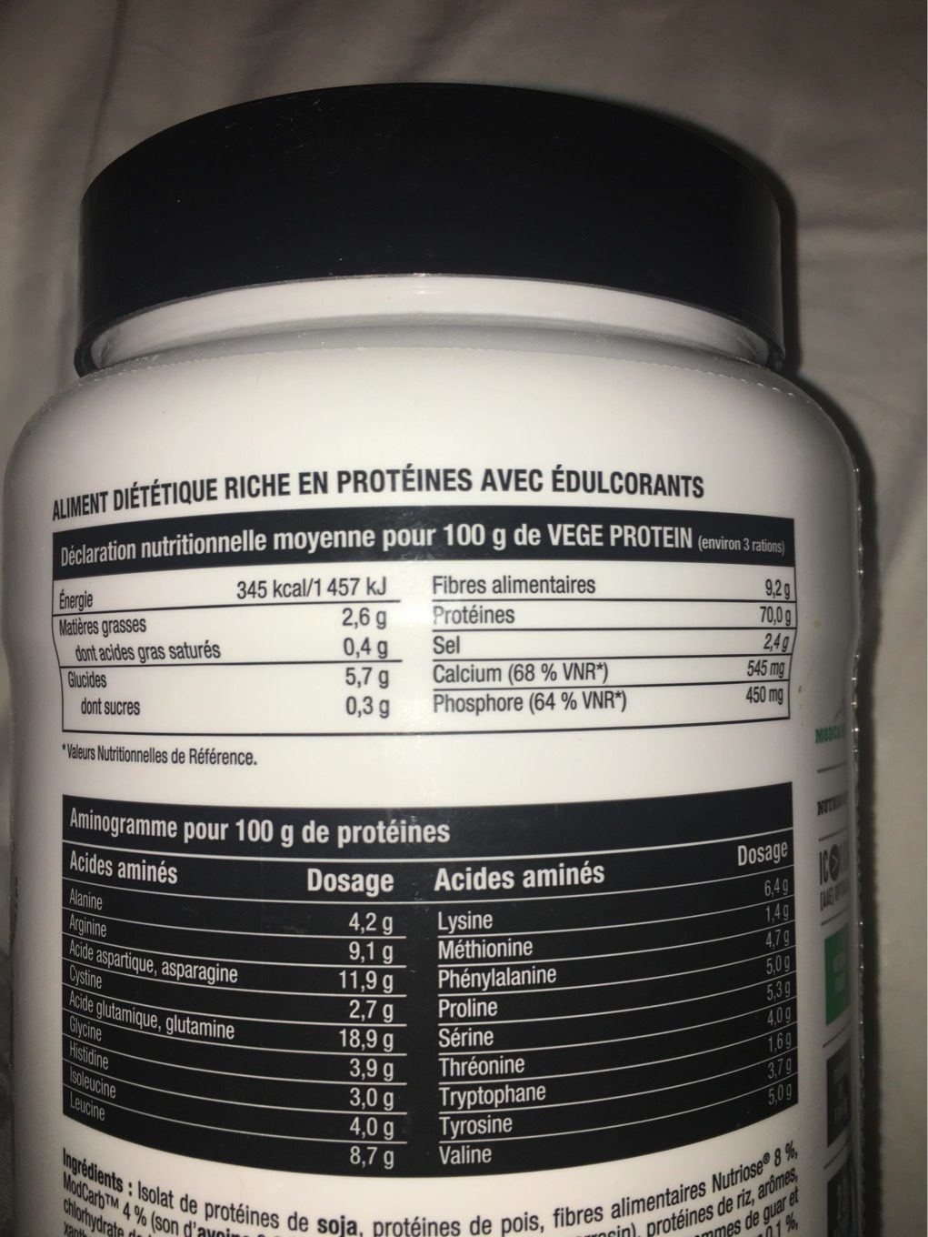 Vege protein - Nutrition facts