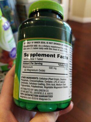 Finest Nutrition Magnesium - Ingrédients
