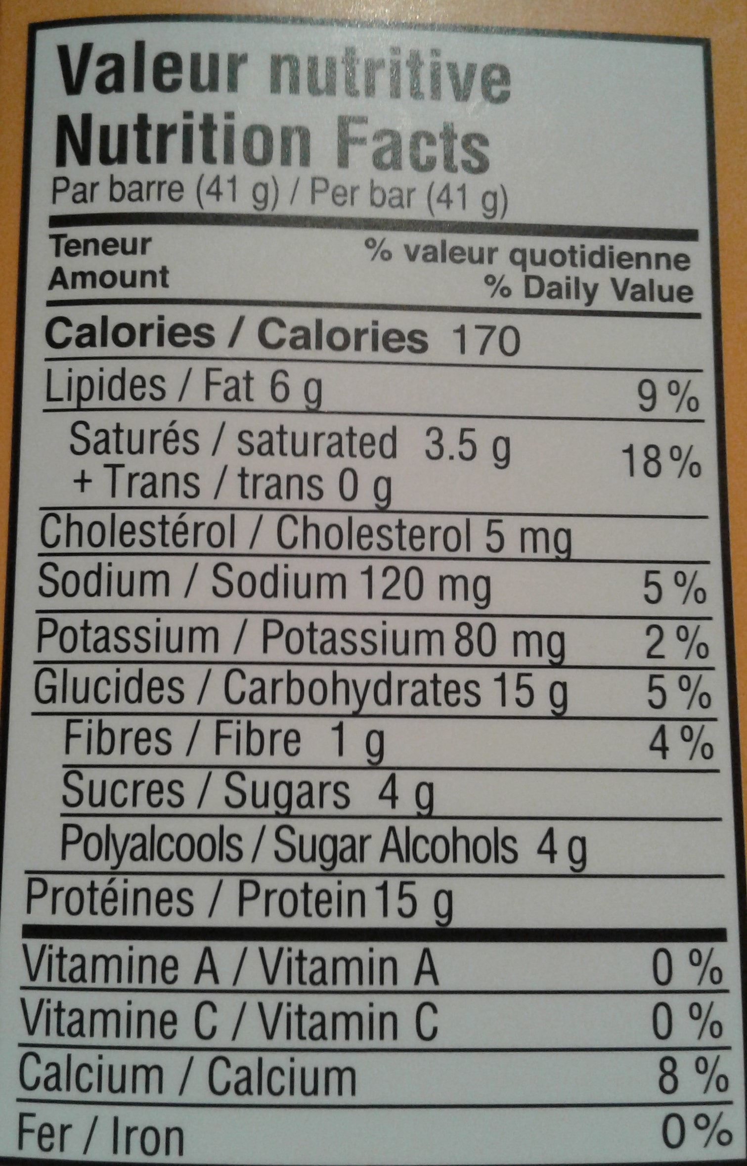 Barre  proteinée - Nutrition facts - fr