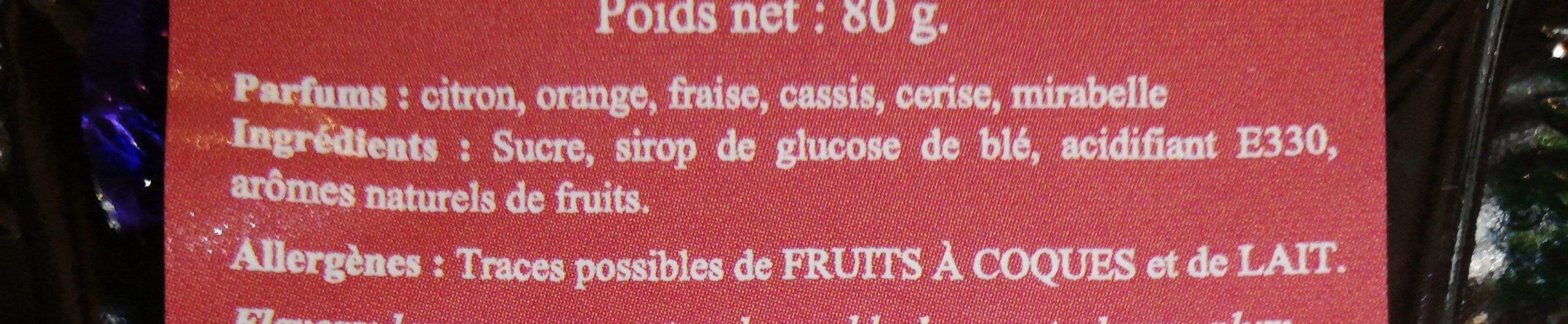 Bonbons de PARIS - Ingrédients