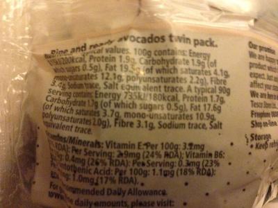 Avocados - Voedingswaarden - en
