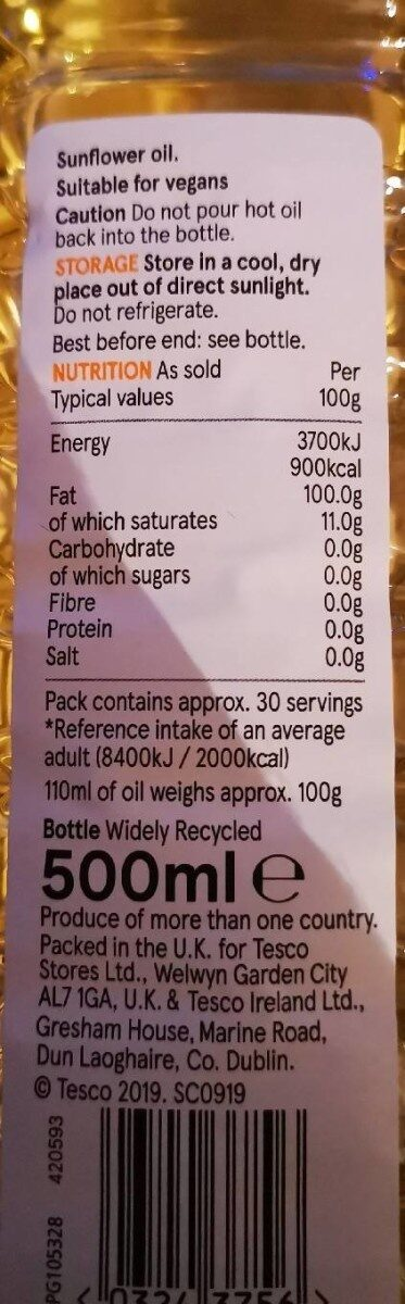 SUNFLOWER OIL - Nutrition facts