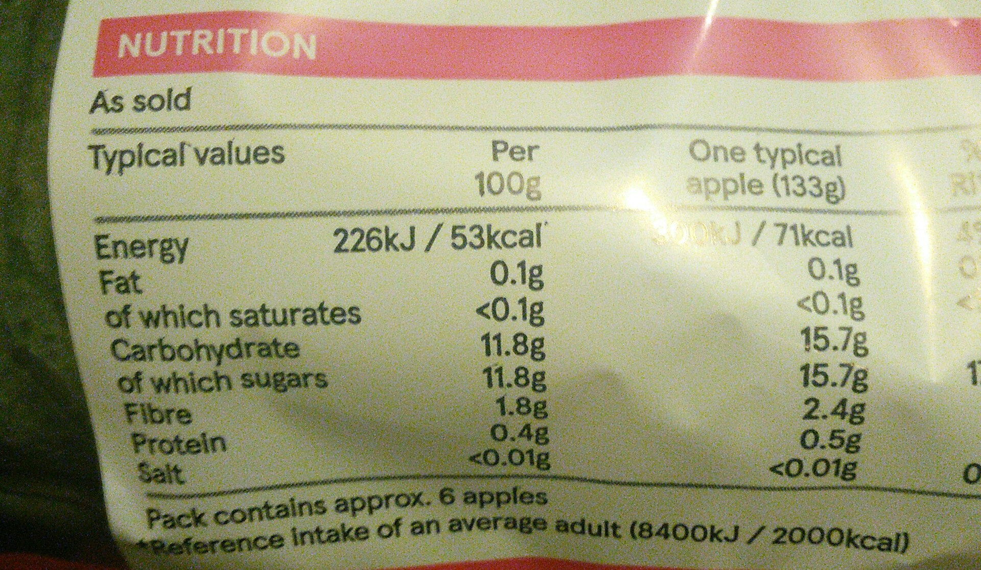 Pink Lady Apples - Informations nutritionnelles