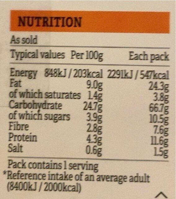 Sweet Potato Pakora Wrap - Voedingswaarden - en
