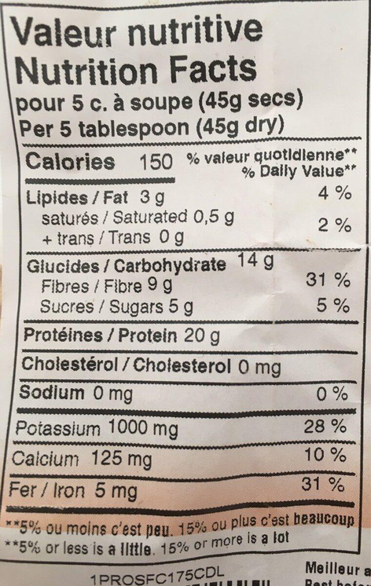 Proteines de soja - Nutrition facts - fr