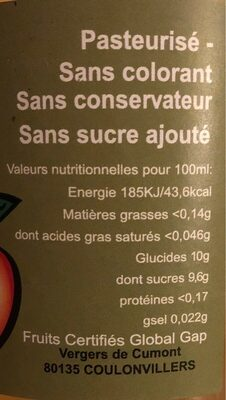 100% jus pommes poires - Nährwertangaben