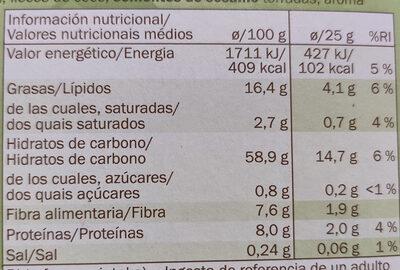 Barritas de cereales con avellanas - Informació nutricional - es