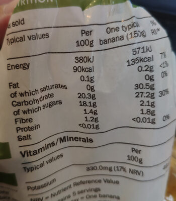 Organic Bananas - Nutrition facts - en
