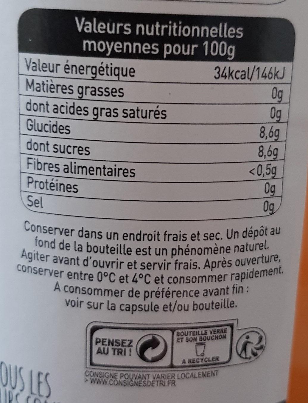 100% pur jus d'orange - Voedingswaarden - fr