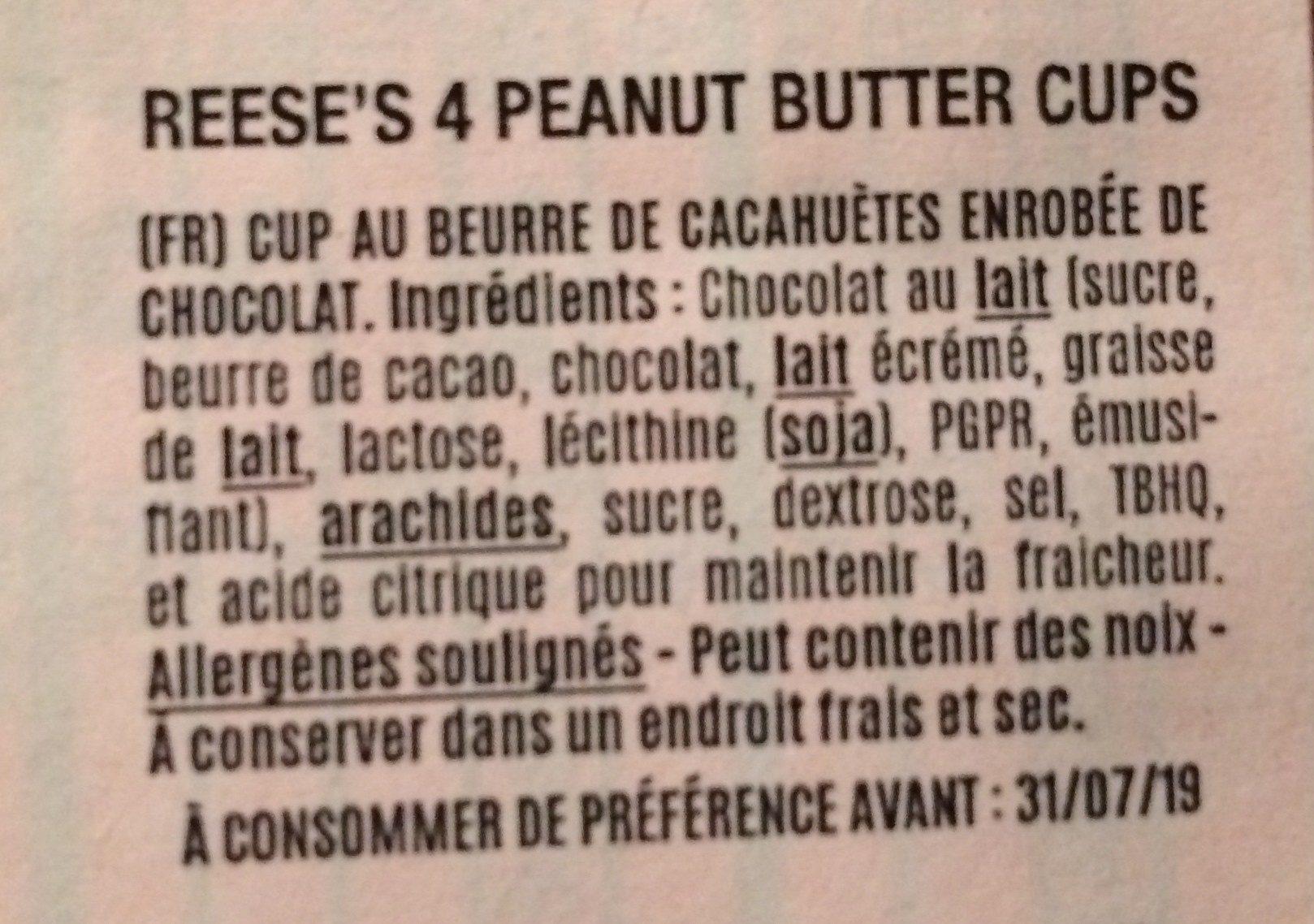 King Size Peanut Butter Cups - Ingrédients - fr