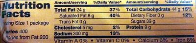 King Size Peanut Butter Cups - Nutrition facts