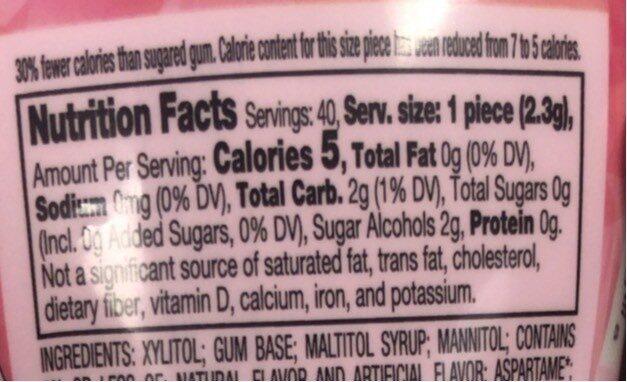 Ice Breakers Ice Cubes Bubble Breeze Sugar Free Gum - Nutrition facts - en