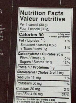 Canelés francais - Informations nutritionnelles - fr
