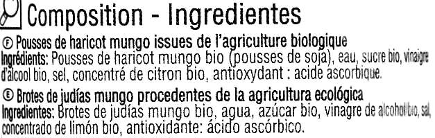 """Brotes de judía mungo en conserva ecológicas """"Carrefour Bio"""" - Ingredientes"""