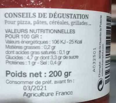 Sauce tomate Provencale - Informations nutritionnelles