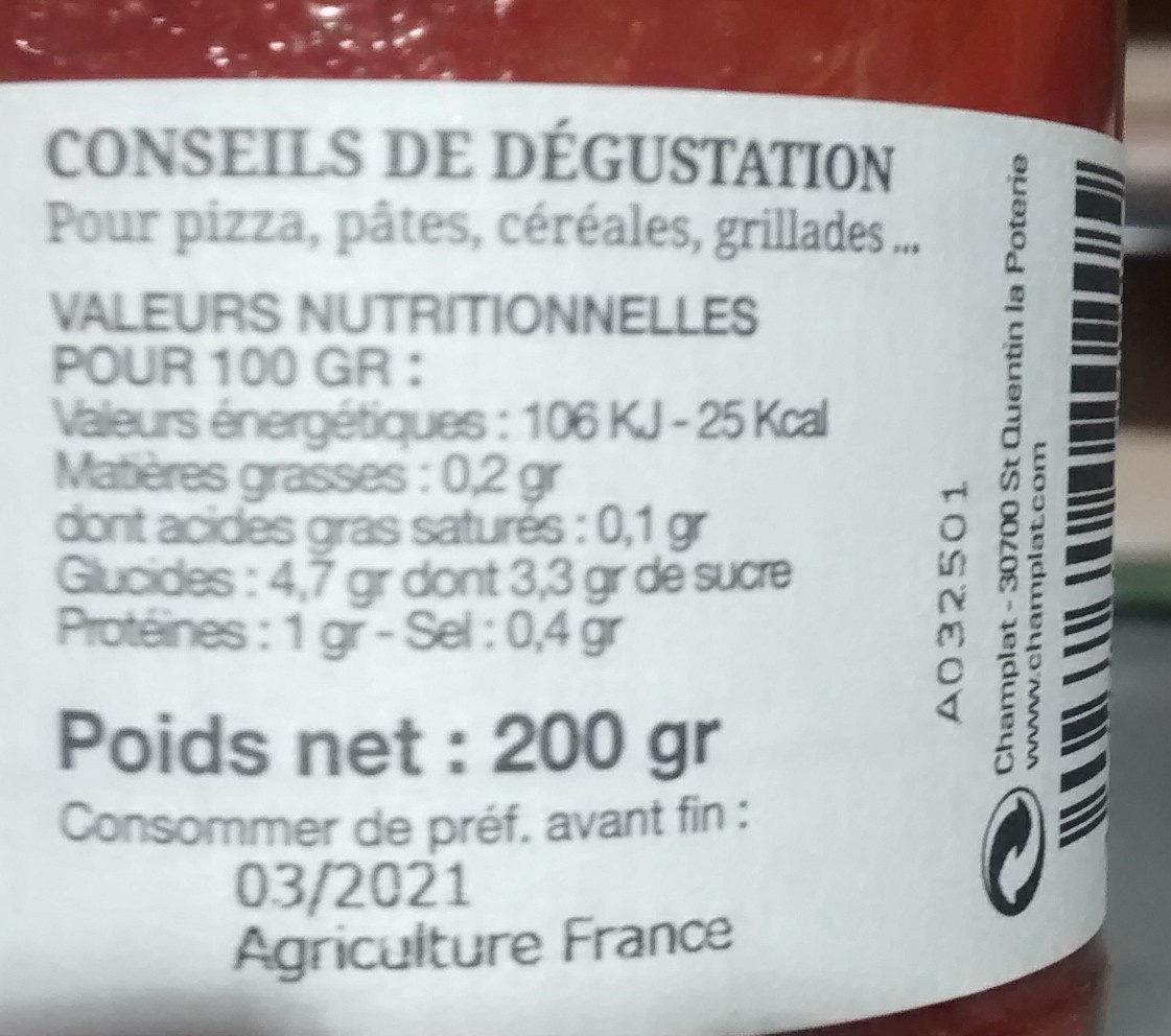 Sauce tomate Provencale - Informations nutritionnelles - fr