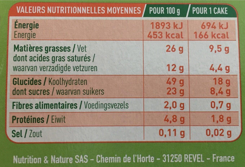P'tits cakes - Informations nutritionnelles